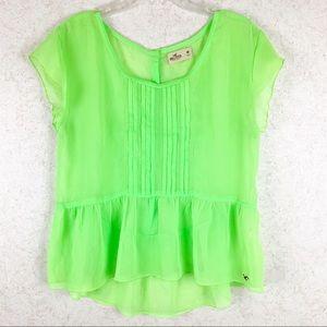 Hollister sheer neon green peplum blouse